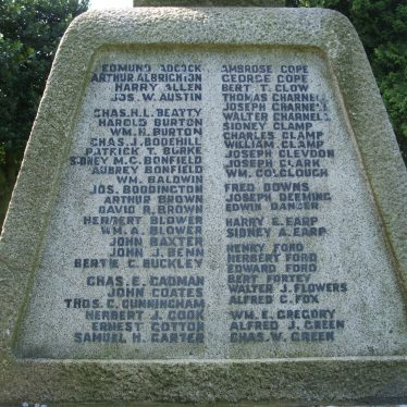Atherstone cemetery war memorial panel one, 2017.   Image courtesy of John Parton
