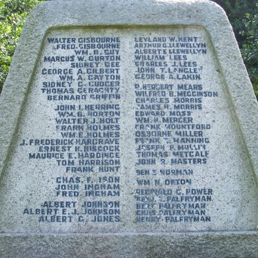 Atherstone cemetery war memorial panel two, 2017.   Image courtesy of John Parton