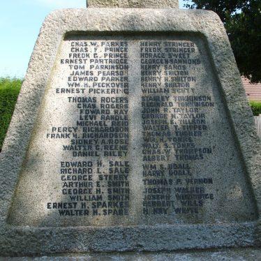 Atherstone cemetery war memorial panel three, 2017.   Image courtesy of John Parton