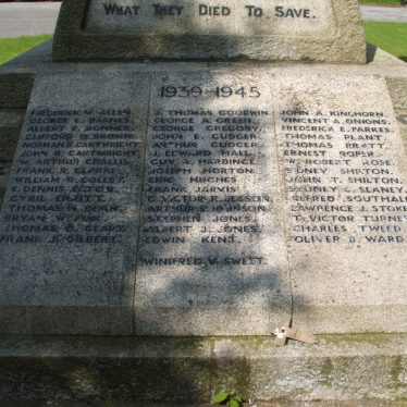 Atherstone cemetery war memorial, 1939-45 panel. 2017.   Image courtesy of John Parton