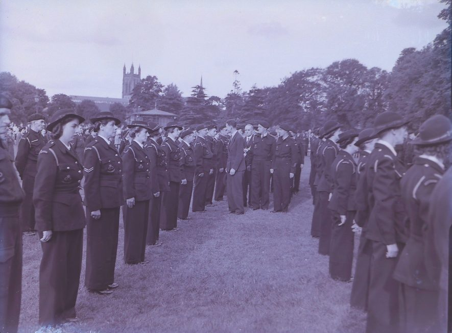 Wardens, Fireguard and Civil Defence Groups, 1944-1945. Civil Defence Parade and Inspection, Pump Room Gardens, Leamington Spa | Warwickshire County Record Office reference PH(N)600/720/30