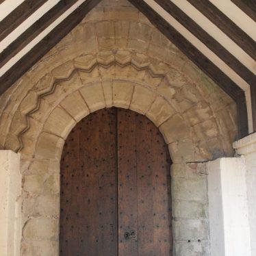 Dog tooth stonework above the door. | Image courtesy of Caroline Irwin