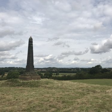 Obelisk on Site of Chapel of St Leonard on Hoo Hill near Polesworth, 2017. | Image courtesy of Kelly Ward