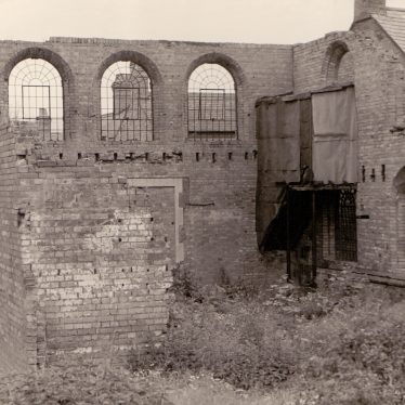 The old Bedworth Methodist Church in ruins after the fire [1941?]. | Image supplied by Kath Allton
