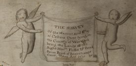 Coat of arms and winged putti. | Warwickshire County Record Office reference CR1886/M12