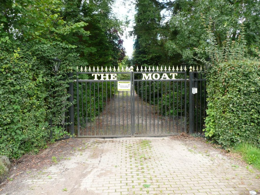 The entrance to the modern high status residence on the moated site recorded as