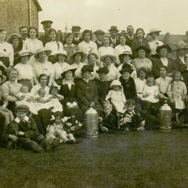 Methodist summer tea party. Held on the lawn of Swindon House, then owned by Mr. Topp, who can be seen on the very edge of the left hand side. Image taken c. 1915. | Image supplied by Kath Allton