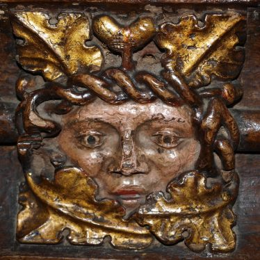 A Green Man, or Man in the Oak Tree? Carving in chancel screen. | Image courtesy of Caroline Irwin