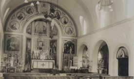 Our Lady's Convent, Daventry Street; interior of the chapel, showing altar and surrounding paintings [1930s]. | Warwickshire County Record Office reference PH352/165/11