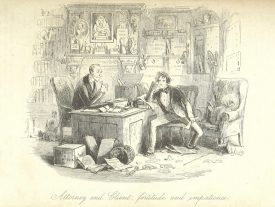 The arduous process of claiming an inheritance; an illustration from Bleak House by Charles Dickens   Illustration by H. K. Browne, Bleak House, 1853 (made available by the British Library)