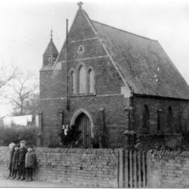 B & W photo of tall chapel with children outside wall | Image courtesy of Marton Local History Group