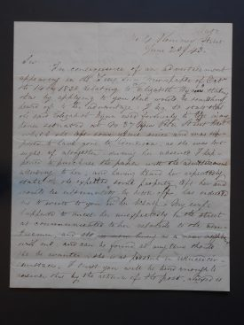 A letter from Samuel Probert to Mr. Greenway, Warwick, on the discovery of the whereabouts of Elizabeth Wynn, 1843   Warwickshire County Record Office reference CR1993/2