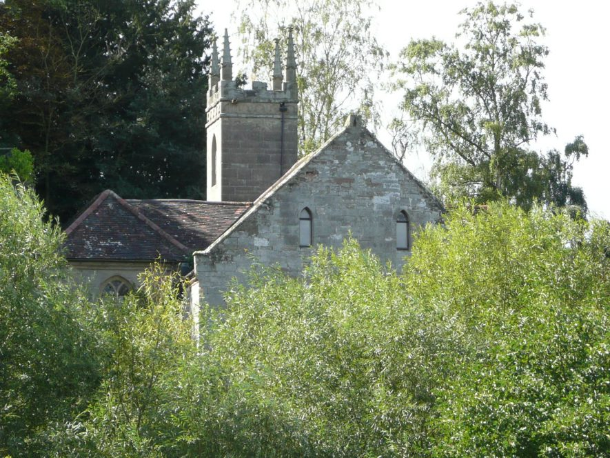 View of Chapel of St Mary Magdalene, Guy's Cliffe from across river. 2017. | Image courtesy of William Arnold