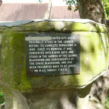 Plaque on font converted to bird bath at Church of St James, Old Milverton. 2017. | Image courtesy of William Arnold
