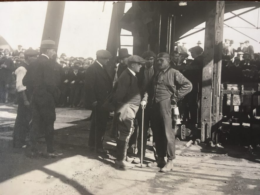 Exhall, nr Coventry. Scene as miners brought up from explosion in colliery. Mine manager Mr. Jackson is in the foreground, with a starched white collar. 1915. | Image courtesy of Geoffrey Legh Jackson Dalzell-Payne