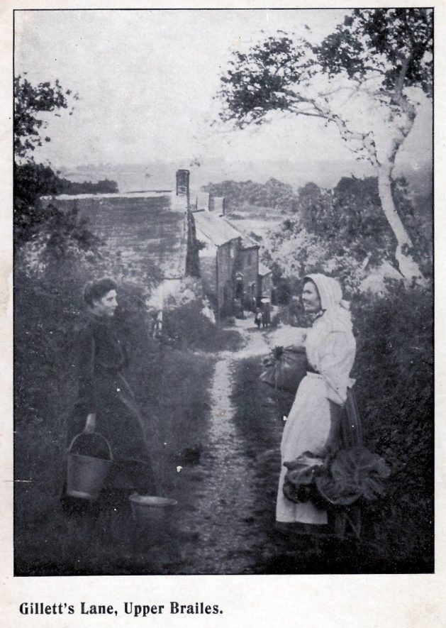 Miss Amy Spicer and Mrs Alice Bloxham (nee Hall). Postcard of Gilletts Lane, Upper Brailes, 1908. | Image supplied by Gordon Brinkworth.