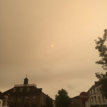 Storm Ophelia and the Red Sun in Warwick