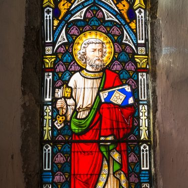 Stained glass window in Church of St Peter, Wormleighton, 2017. | Image courtesy of Simon Harding