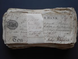 A bundle of Alcester Bank banknotes. | Warwickshire County Record Office reference CR110/Bundle 2