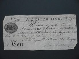 An Alcester Bank £10 note. | Warwickshire County Record Office reference CR110/Bundle 2