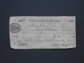 An Alcester Bank £5 note. | Warwickshire County Record Office reference CR110/Bundle 2