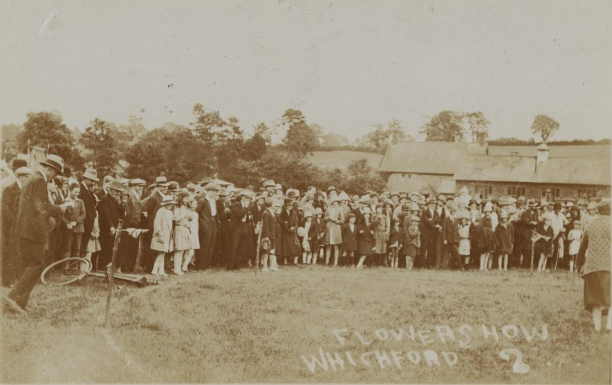 Whichford. Postcard of a flower show, c. 1920. | Photographer: Frank Packer. Warwickshire County Record Office reference PH1318/1.
