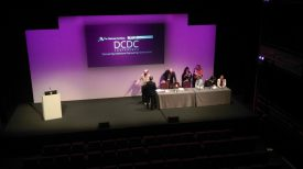 The panel preparing to present their talks at the DCDC Conference. | Image courtesy of Becky Hemsley