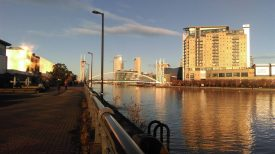 Beautiful place for a conference! The sunrise over Salford Quays. | Image courtesy of Becky Hemsley