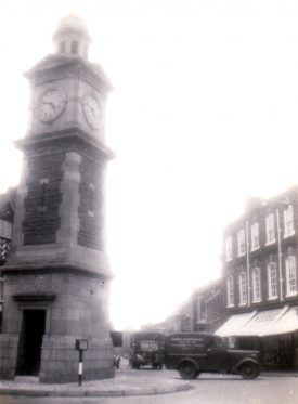 The Clock tower in Rugby, 1950s. | Image courtesy of Godfrey Holter