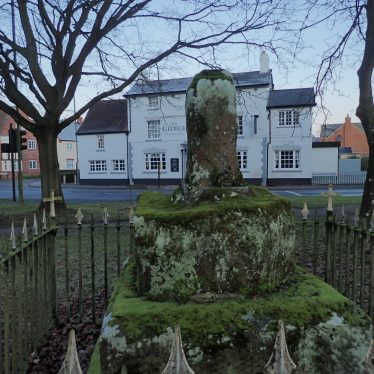 Bilton Cross, 2018. A stone stump is surrounded by railings. | Image courtesy of John Whittle