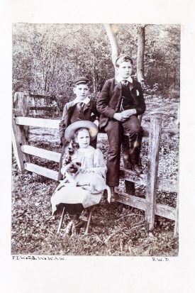 Children of the Waller Family of Woodcote, Leek Wootton (left to right: Sir Francis Ernest Waller Bt, Edith Sophia Waller (seated) and Wathen Arthur Waller (circa 1893) | From 'Leek Wootton: Photograph Album belonging to Wathen Arthur Waller 1893-1904'