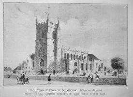 Lithograph of St Nicolas church, Nuneaton with the Old Grammar School and Alms House on the left | Originally published in 'A History of Nuneaton Grammar School'. Warwickshire County Record Office reference B.Nun.Nas