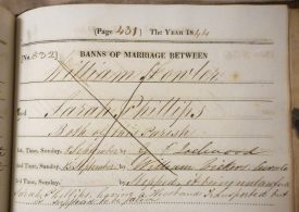 Detail from register of banns of marriage, parish of St Nicolas, Nuneaton, 1844 | Warwickshire County Record Office, reference DR 280/5