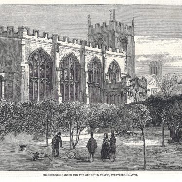 Shakespeare's Garden and the Old Guild Chapel | Engraving, The Illustrated London News, 4-Feb-1862. Supplied by Lindsay MacDonald.