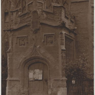 The Porch - North door of Guild Chapel, 1881 | Sepia photographic postcard, Judge's. Supplied by Lindsay MacDonald.