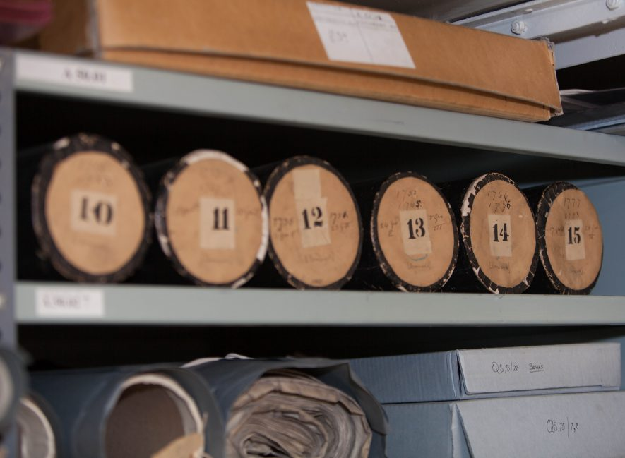 Documents in the strongroom. | Image courtesy of Heritage & Culture Warwickshire