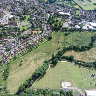 Aerial view of Alcester Abbey site. | Image from the personal collection of Mike Gittus