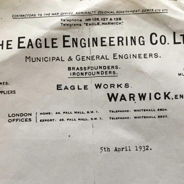 Eagle Engineering. Letterhead, 1932. | Image courtesy of Susan Dyke