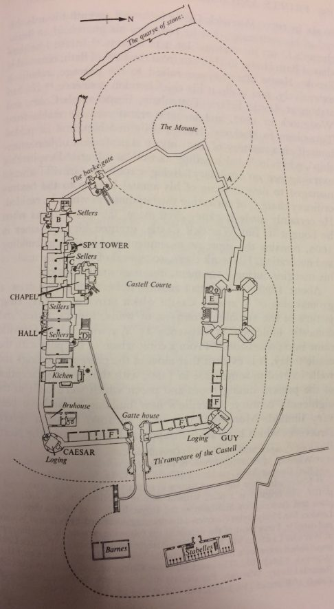 Annotated copy of the Smythson Plan of Warwick Castle, c.1604. | Image courtesy of RIBA