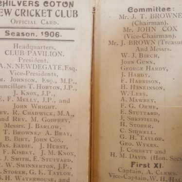 Chilvers Coton cricket team official card, 1906. | Image courtesy of Maureen Meigh, supplied by Nuneaton Memories