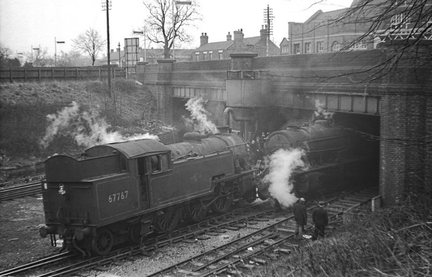 Collision at Rugby Central Wednesday 28 March 1962. Locomotives 67767 and 90697. | Image courtesy of the Tony Newman Collection