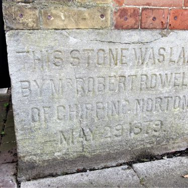 Stone reads: 'This stone was laid by Mr Robert Rowell of Chipping Norton May 29 1879' | Anne Langley