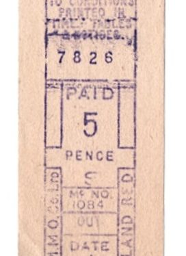 Old style Midland Red bus ticket, issued around 1960, Rugby. | Image courtesy of Tony Newman