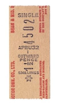 New style Midland Red bus ticket, issued early 1960s, Rugby. | Image courtesy of Tony Newman