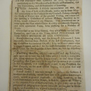 A newspaper cutting from 1781 written by Sir Ashton Lever. | Warwickshire County Record Office reference CR2017/TP280/2