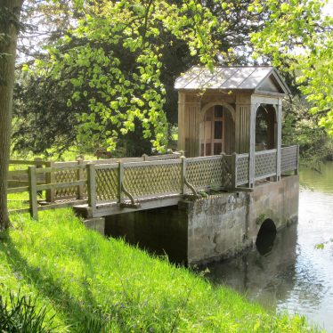 Gazebo and footbridge at Stoneleigh Abbey, 2018. Wooden gazebo on island in river | Image courtesy of Anne Langley