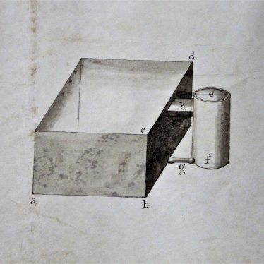 William Floyd's patent bucking tub. Diagram of tub and furnace | Warwickshire Ccounty Record Office reference CR 292/AL 86