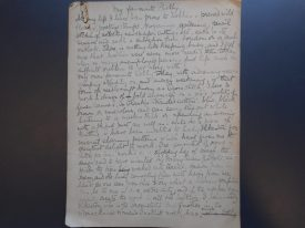 Page one of Eleanor Archer's essay.   Warwickshire County Record Office reference CR3682/7