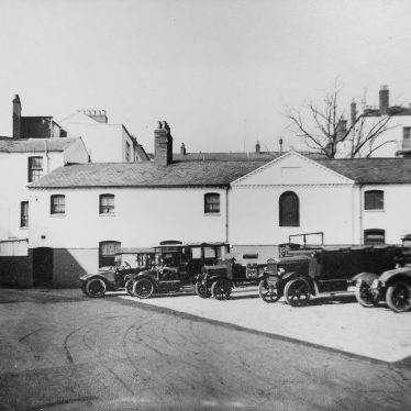 Photograph of charabancs parked in yard of Regent Garage, c.1929 | Warwickshire County Record Office reference CR4014/191