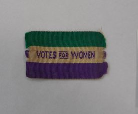 Cicely Lucas's 'Votes for Women' ribbon. | Image courtesy of Sara Wear
